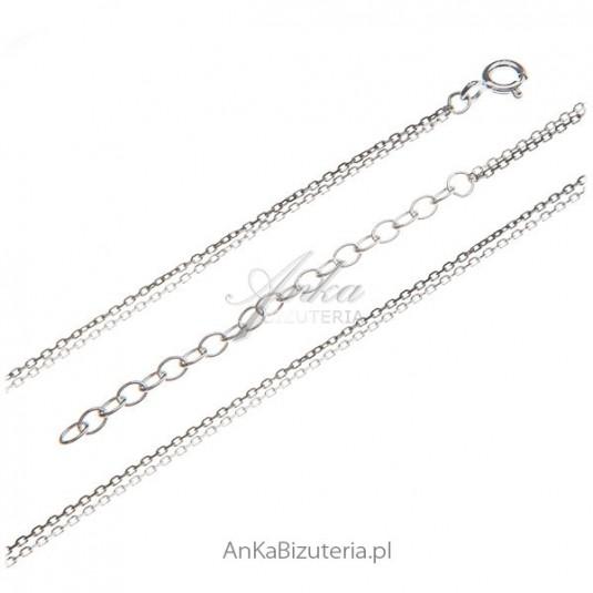 Łańcuszek podwójny anker rodowany i oksydowany 50 cm