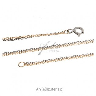 Łańcuszek srebrny anker podwójny 0,3 oksydowany i pozłacany 80 cm