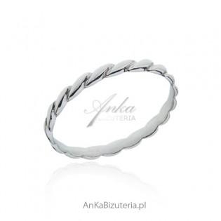 Pierścionek srebrny obrączka z falą