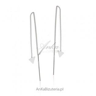 Kolczyki srebrne z przekładanym łańcuszkiem