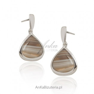 Agat botswana - kolczyki srebrne -Piękny kamień!