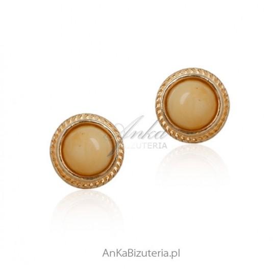Biżuteria z bursztynem - Kolczyki srebrne pozłacane z żółto - białym bursztynem