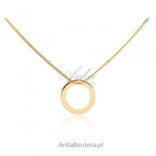 Modna biżuteria damska - Naszyjnik celebrytka srebro pozłacane