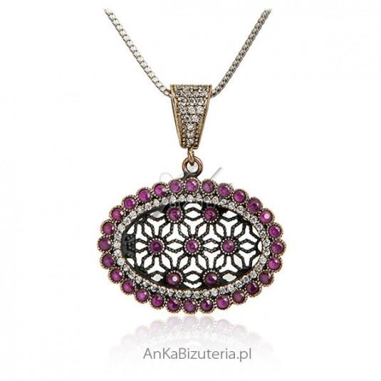 Zawieszka srebrna Biżuteria wiedeńska z rubinami
