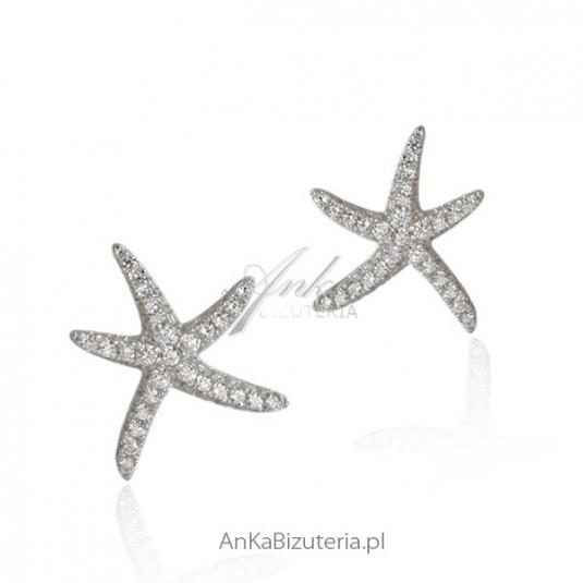 Kolczyki srebrne z cyrkoniami Rozgwiazda - Hiszpania - Lineargent
