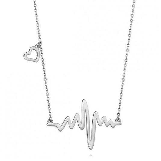 Naszyjnik srebrny linia bicia serca