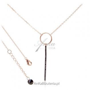 Lineargent biżuteria - naszyjnik srebrny z czarnymi cyrkoniami