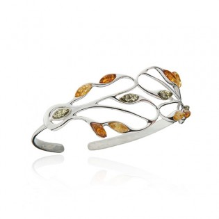 Cudna bransoletka srebrna z kolorowym bursztynem