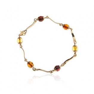Biżuteria z bursztynem Piękna srebrna bransoletka z kolorowym bursztynem