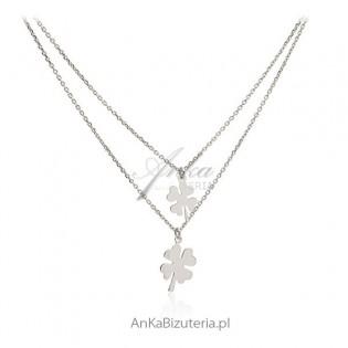 Piękny srebrny naszyjnik z koniczynkami
