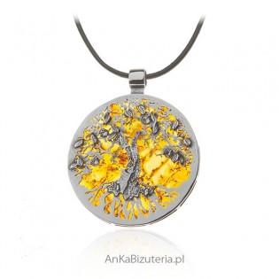 Śliczna biżuteria na prezent - zawieszka z bursztynem i kryształkami Swarovski
