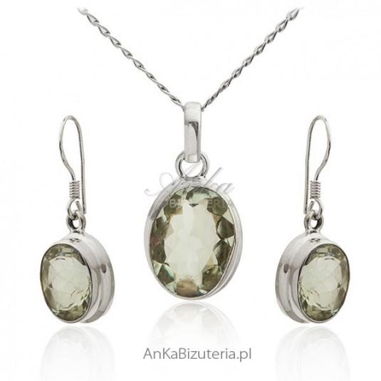 Biżuteria z oliwinem - Srebrny komplet biżuterii