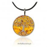 Zawieszka srebrna - Drzewko szczęścia na prawdziwym burszczynie