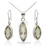 Komplet biżuterii srebrny z kamieniem naturalnym - oliwinem