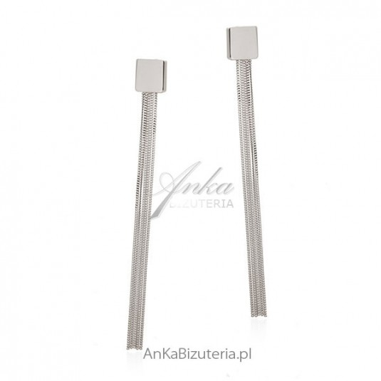 Modna biżuteria srebrna Długie kolczyki srebrne