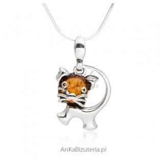 Srebrna biżuteria zawieszka kotek