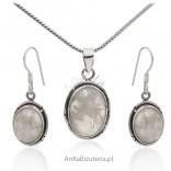 Komplet biżuteria srebrna z kamieniem księżycowym