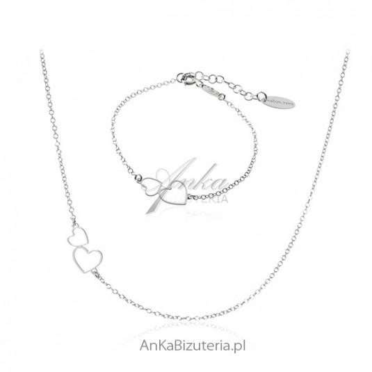 Komplet biżuterii srebrny serduszka