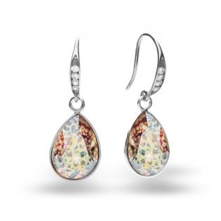 Kolczyki srebrne z kryształami Swarovski White Patina
