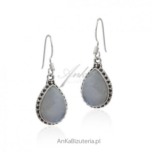 Biżuteria kamień księżycowy - Kolczyki srebrne