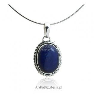 Wisiorek srebrny z lapis lazuli