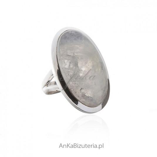 Biżuteria z kamieniem księżycowym Piękny duży srebrny pierścionek