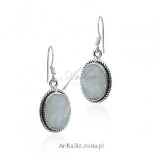 Kolczyki srebrne z kamieniem szczęścia - kamień księżycowy