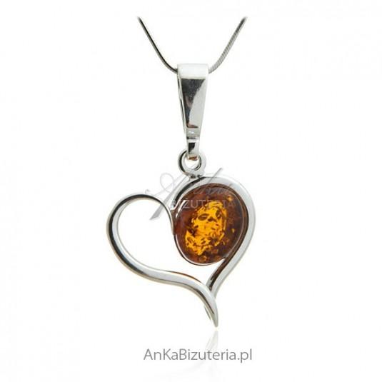 Biżuteria srebrna z bursztynem - Zawieszka serce