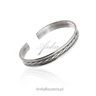 Srebrna biżuteria Bransoletka srebrna oksydowana