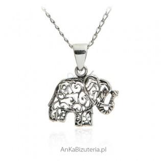 Zawieszka srebrna słonik - na szczęście
