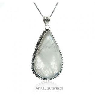 Piękna duża zawieszka z kamieniem księżycowym Biżuteria srebrna