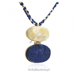 Piękna biżuteria damska Naszyjnik srebrny z bursztynem i lapis lazuli - druzda