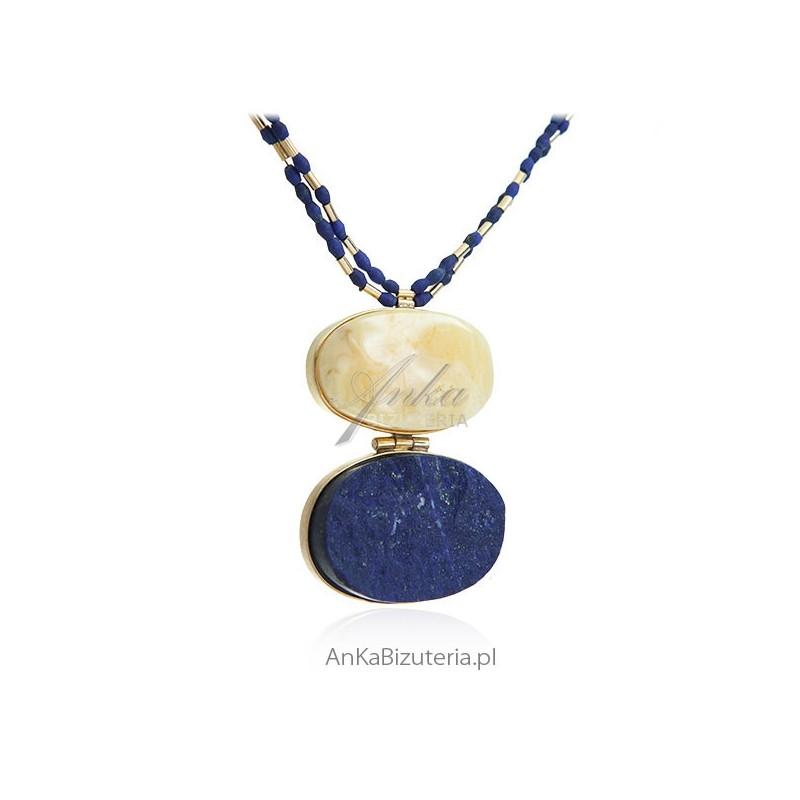 Damska biżuteria wisior srebrny z lapis lazuli oraz bursztynem