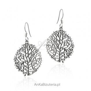 Kolczyki srebrne drzewka ażurowe oksydowane