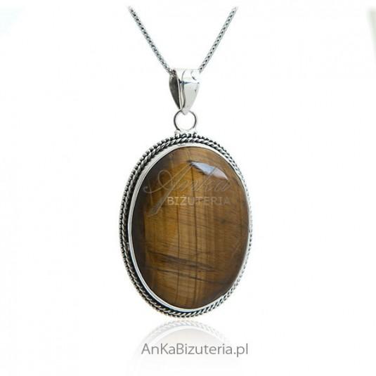 Srebrna biżuteria z tygrysim okiem - kamieniem naturalnym