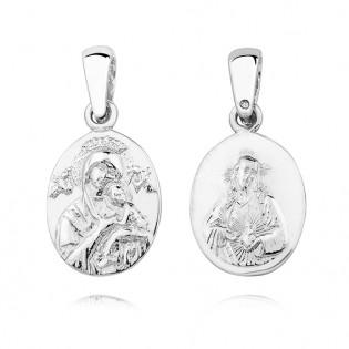 Medalik srebrny - Matka Boska Nieustającej Pomocy/Serce Jezusa