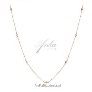 Naszyjnik srebrny pozłacany różowym złotem - długi