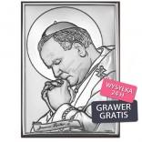 Prezent komunijny srebrny obraz Jana Pawła II życzenia komunijne