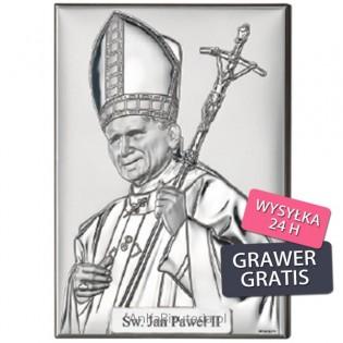 Papież Jan Paweł II Srebrny obrazek
