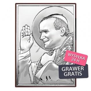 Pamiątka komunijna Papież Jan Paweł II - błogosławiący. Srebrny obrazek GRAWER