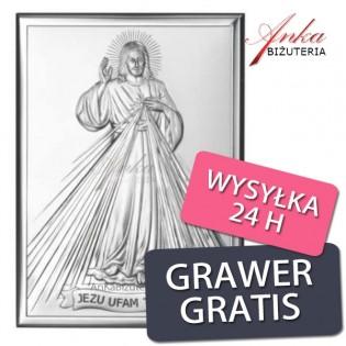 Ikona - obrazek srebrny Jezu Ufam Tobie - Obrazek Jezusa Miłosiernego