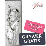 Srebrny obrazek z Papieżem Janem Pawłem II - 5,4x15cm GRAWER