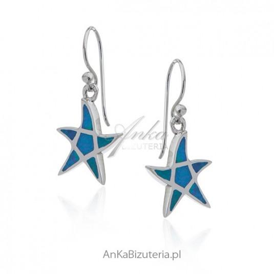Kolczyki srebrne z niebieskim opalem rozgwiazdy