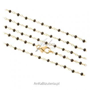 Długi naszyjnik srebrny pozłacany z czarnymi onyksami