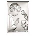 Pamiątka Pierwszej Komunii Św. dla chłopca - Srebrne obrazki