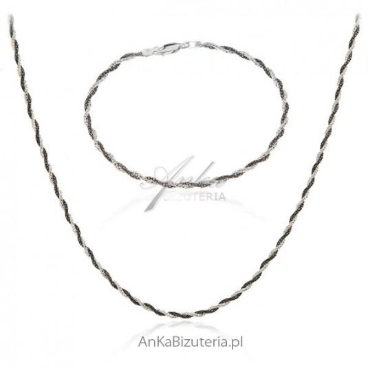 Komplet biżuteria srebrna oksydowana - naszyjnik i bransoletka