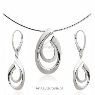 Elegancki Komplet biżuteria srebrna rodowana