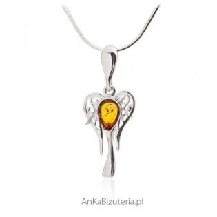 Piękna zawieszka Anielica - biżuteria srebrna z bursztynem