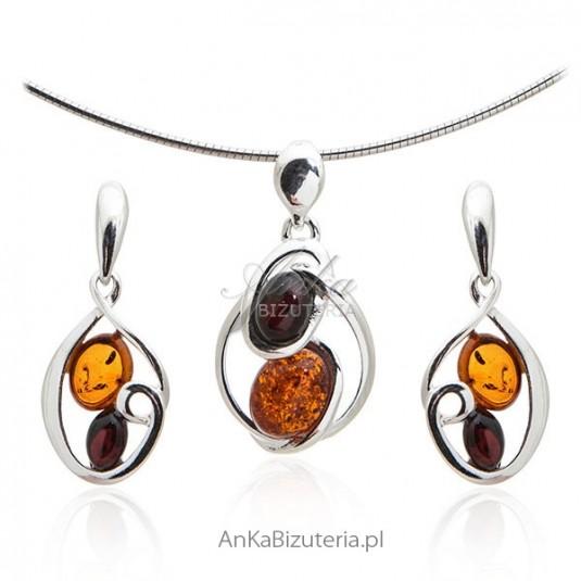 Biżuteria srebrna z bursztynem - Komplet biżuteria srebrna