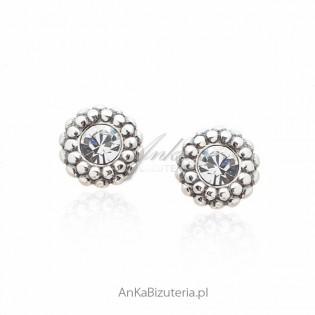 Kolczyki srebrne z białą cyrkonią